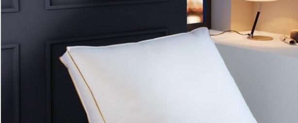 Jade, kussen, box model ook voor zijslapers, vulling: 80% ganzendons en 20% veertjes, stevigheid: Medium, tijk: fijnste 100% Mako-katoen Nomite gecertificeerd met wit satijnen bies, reiniging: wasbaar op 60 °C, kleur: wit, merk: Brinkhaus (Duitsland)