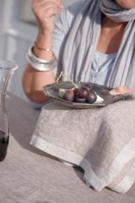 Frascati, 100% linnen tafellinnen (servet, loper, tafellaken) voor- en achterzijde verschil van kleurtint: duotone, schilderijzoom, Libeco (Belgisch)