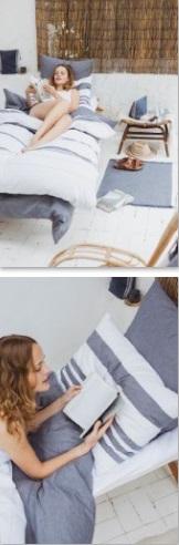 Goodwin, Bedlinnen: dekbedovertrek en slopen, 51% Linnen en 49% katoen, halflinnen, Gestreept: wit met bastion blauwe strepen, washed look, Vernoemd naar de Goodwin Sands (zandbank), Libeco (België)