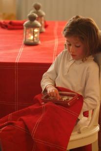 Saint-Valéry: OPRUIMING / SALE, 100% linnen, Fraai kerstlinnen: Rood met ingeweven ivoor draad, Libeco (Belgisch)