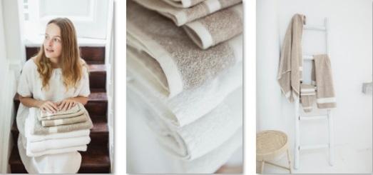 Simi, 60% linnen, 40% katoen (Waslapje, washand, gastendoek, handdoek, badhanddoek, badlaken), vlaskleur en oyster, Libeco (Belgisch)