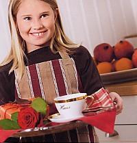 Emil Rand, keukenlinnen, schort, pannenlappen, katoen, jacquard geweven streep, Nyblom (Zweden) (UITVERKOOP)