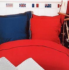 King Polo, Duotone dekbed + sloop, tweekleurig, met fraai stiksel, Italiaans Mirabello