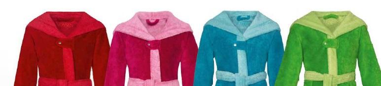 Bixie, badjas, 100% Katoen, velours, met capuchon, double face (omkeerbaar), contrast kleur, merk: Vossen (Oostenrijk)