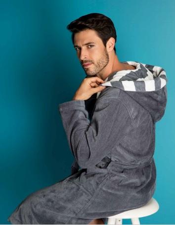 Costa, badjas, unisex, afwerking met gestreepte boord, 100% katoen, veloursweving, merk: Vossen (Oostenrijk)