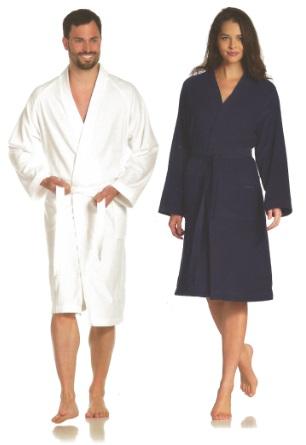 Dallas, badjas, unisex, gewatteerde boord, velour weving, 100% katoen, sportief en comfortabel, merk: Vossen (Oostenrijk)