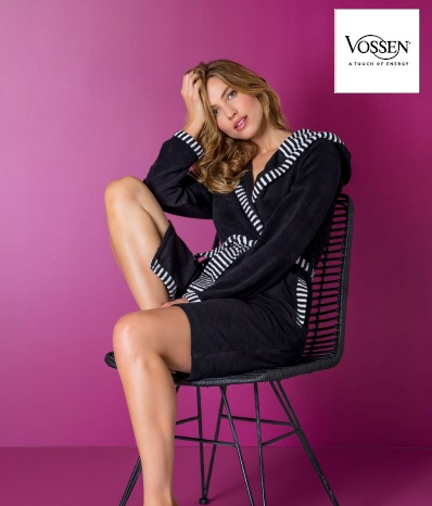 Juno, badjas, dames, badstof, afwerking met gestreepte stof, 80% katoen 20% PES, met capuchon, merk: Vossen (Oostenrijk)