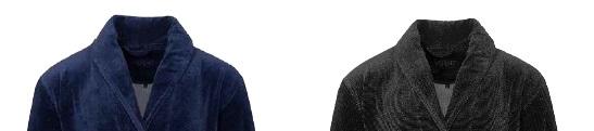 Rossano, badjas, heren,70% katoen 30% polyester, nicky velour (subtiel streep melange), stijlvol, met sjaalkraag, merk: Vossen (Oostenrijk)