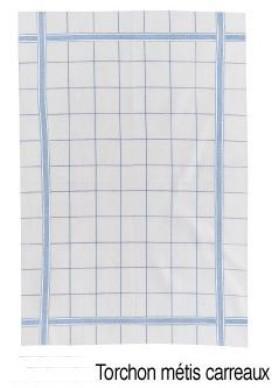 Metis Carreaux, keukenlinnen: ruit afdroogdoek (theedoek) half linnen en uni handdoek katoen, Winkler (Belgisch) (OPRUIMING)